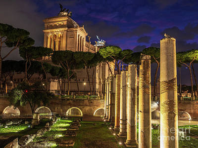 City Scenes - Rome Night Piazza Venezia Columns by Mike Reid
