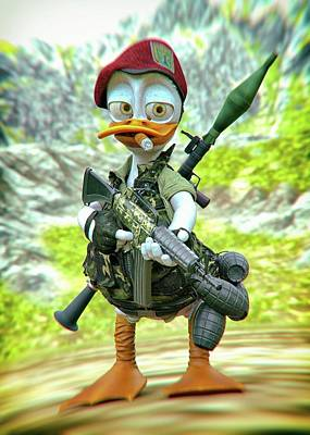 Maps Maps And More Maps - Ronny the War Duck by MAW CG threeD Art