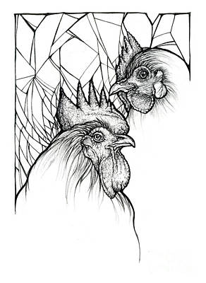 Drawings Royalty Free Images - Rooster and Hen Royalty-Free Image by Angel Ciesniarska