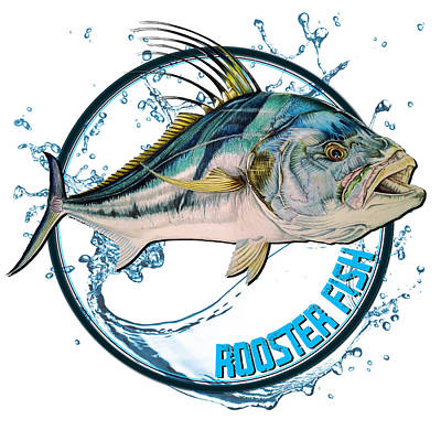 Mixed Media Royalty Free Images - Rooster Fish logo Royalty-Free Image by Paul Kyriakides