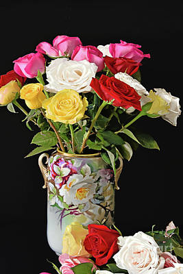 Still Life Royalty-Free and Rights-Managed Images - Rose Bouquet and Vase on Black by Regina Geoghan