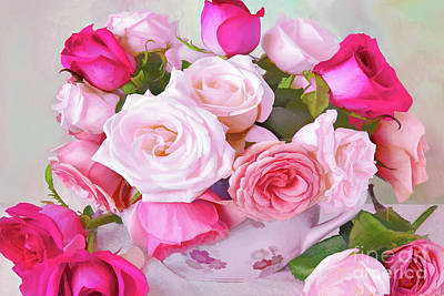 Modern Sophistication Beaches And Waves - Rose Bouquet in a Palette of Pinks by Regina Geoghan