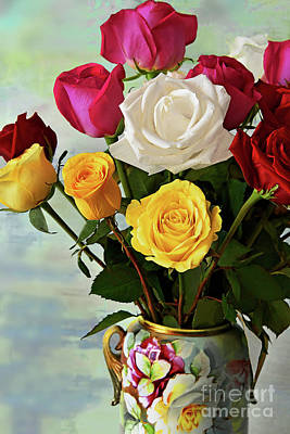 Still Life Royalty-Free and Rights-Managed Images - Rose Bouquet in Mixed Colors by Regina Geoghan