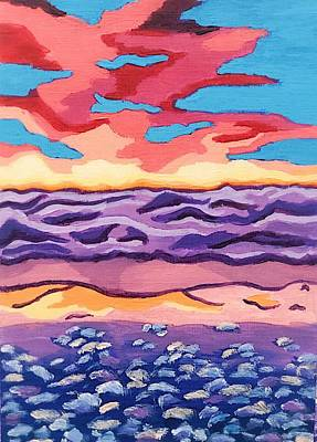 Painting - Rose Hued Sunset Over Lake Michigan by Dara Thomson
