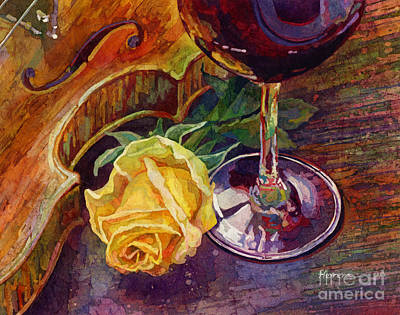 Food And Flowers Still Life Rights Managed Images - Rose, Wine, and Violin Royalty-Free Image by Hailey E Herrera