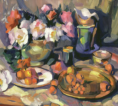 Have A Cupcake - Roses And Fruit Still Life by David Lloyd Glover