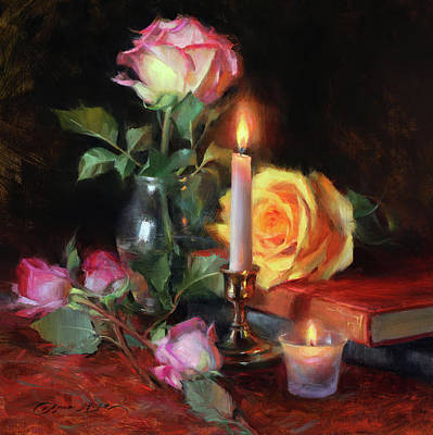 Painting - Roses and Two Candles by Anna Bain