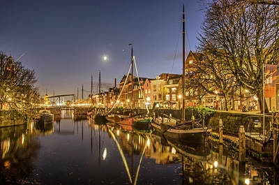 Photograph - Rotterdam canal in the moonlight by Frans Blok