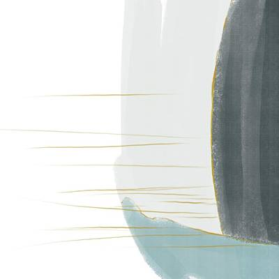 Mixed Media Royalty Free Images - Rough Seas 2 - Contemporary Minimal Abstract Painting - Blue, Denim, Grey, White Royalty-Free Image by Studio Grafiikka