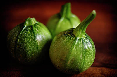Still Life Royalty-Free and Rights-Managed Images - Round Courgettes by Cassi Moghan
