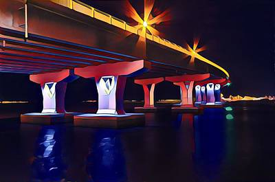 Surrealism Royalty-Free and Rights-Managed Images - Route 52 Causeway Bridge at Night by Surreal Jersey Shore