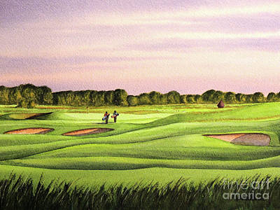 Recently Sold - Sports Paintings - Royal St Georges Golf Course Hole 9 by Bill Holkham