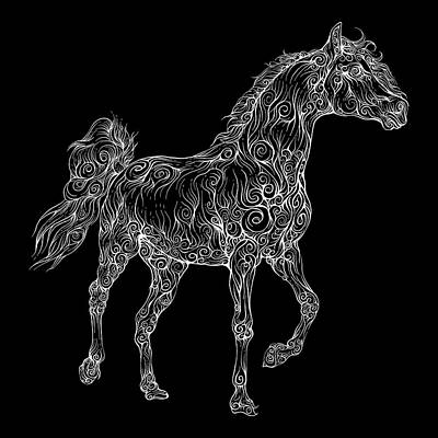 Animals Drawings - Rubino Horse Etching by Tony Rubino