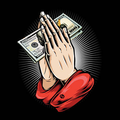 Surrealism Royalty-Free and Rights-Managed Images - Rubino Money Calling Gangster Entrepreneur Christmas Hip Hop Gift Praying Hands by Tony Rubino