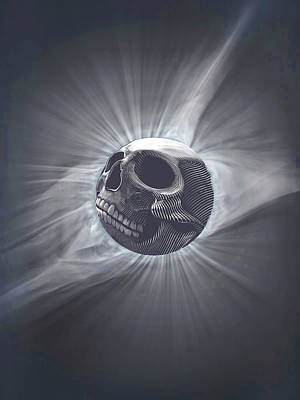 Surrealism Royalty-Free and Rights-Managed Images - Rubino Moon Planet Skull Solar Eclipse by Tony Rubino