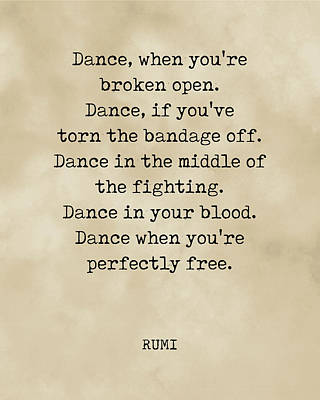 Royalty-Free and Rights-Managed Images - Rumi Quote 03 - Dance when youre perfectly free - Typewriter Print - Vintage by Studio Grafiikka