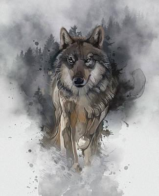 Animals Digital Art - Running Wolf Vintage by Bekim M