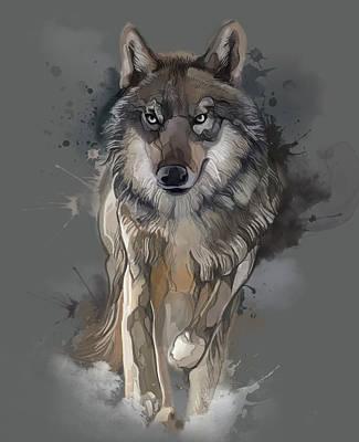 Animals Digital Art - Running Wolf Vintage V2 by Bekim M