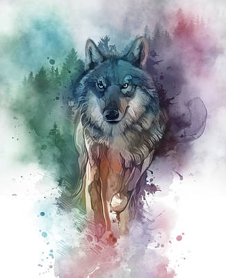 Animals Digital Art - Running Wolf  Watercolor by Bekim M