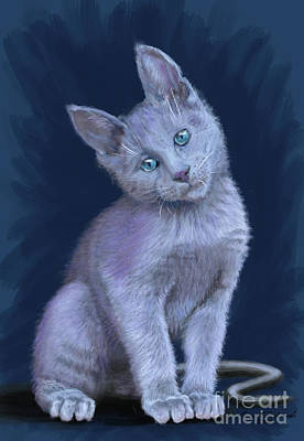 Graduation Hats - Russian Blue Kitten by Gary F Richards