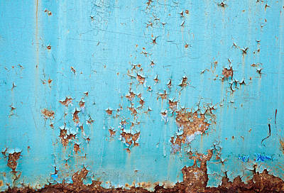 Royalty-Free and Rights-Managed Images - Rusted blue painted metal wall. Detailed photo texture by Julien