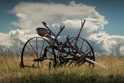 Venice Beach Bungalow - Rusted Farm Equipment in the Grass on the Prairie by Randall Nyhof