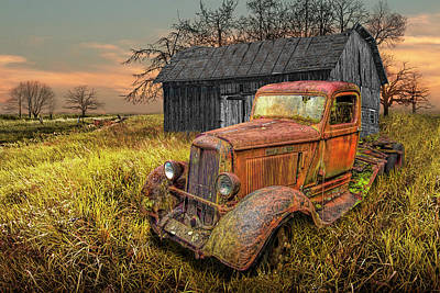 Comedian Drawings Rights Managed Images - Rusted Red Vintage Truck with Weathered Barn in a Rural Landscape Royalty-Free Image by Randall Nyhof