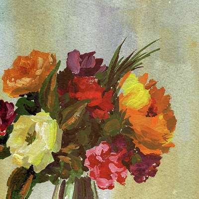 Achieving - Rustic Bouquet Impressionistic Flowers by Irina Sztukowski