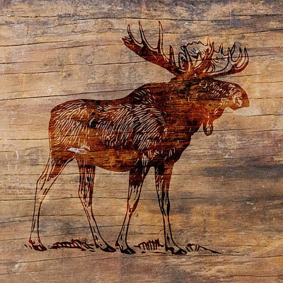 Animal Paintings David Stribbling - Rustic Moose by Brandi Fitzgerald
