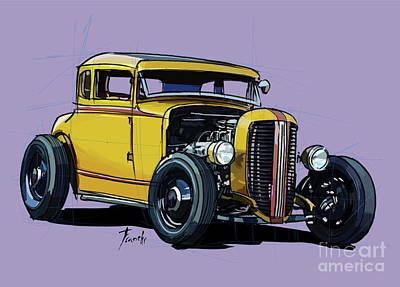 Royalty-Free and Rights-Managed Images - Rusty car Rusty Tuck. Original Concept Art Drawing. by Drawspots Illustrations