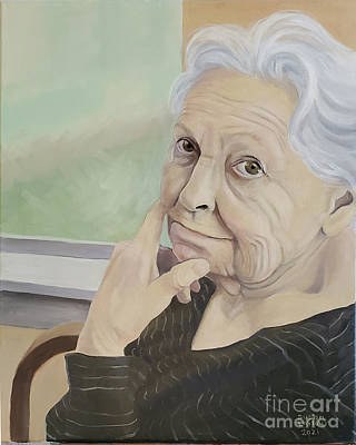 Farm Life Paintings Rob Moline - Ruth at 90 by Susan Lafleur