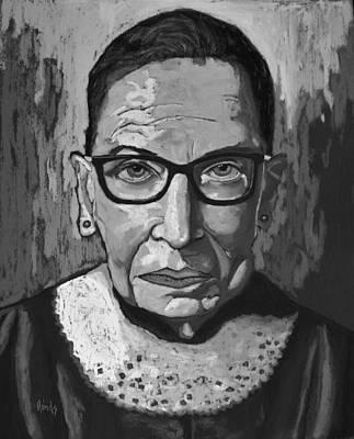 Train Paintings - Ruth Bader Ginsburg - Black and White by David Hinds