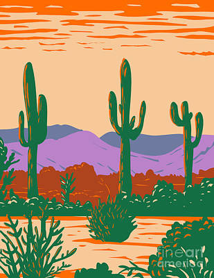 Halloween Movies - Saguaro Cactus in Sonoran Desert National Monument Located South of Buckeye and East of Gila Bend Arizona WPA Poster Art by Aloysius Patrimonio