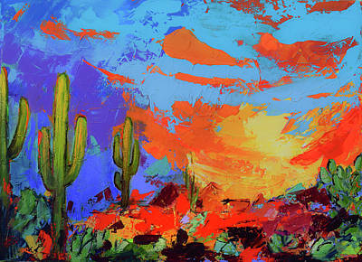Landscapes Royalty-Free and Rights-Managed Images - Saguaros Land Sunset by Elise Palmigiani