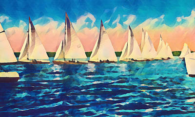 Mixed Media - Sail Boats and Light Coral Sky by Pierce Anderson