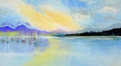 Mixed Media Royalty Free Images - Sail Boats Moored on Peaceful Lake  Panorama  Abstract Royalty-Free Image by Linda Brody