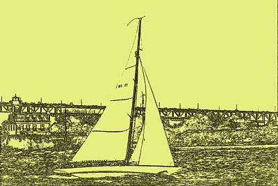 Book Quotes - Sail Newport pen and ink effect by Tom Prendergast