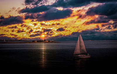 Photograph - Sailboat at Sunset by Christine Buckley