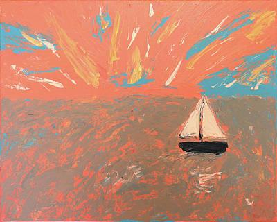 Painting - Sailboat at Sunset by K Bradley Washburn