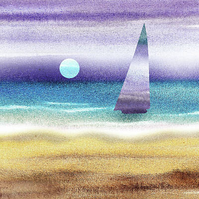Royalty-Free and Rights-Managed Images - Sailboat At The Ocean Shore Seascape Painting Beach House Art Decor II by Irina Sztukowski