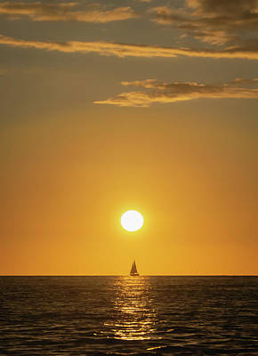 Photograph - Sailboat in the Sunset by Dave Matchett