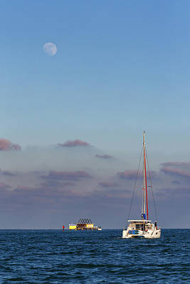 Farmhouse Rights Managed Images - Sailboat, Stilthouse and the Moon Royalty-Free Image by Claudia Domenig