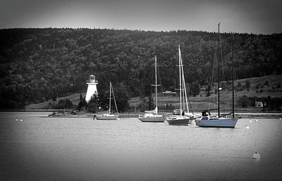 Vintage Presidential Portraits - Sailboats in Baddeck Harbor by James C Richardson