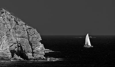 Autumn Pies - Sailing around Point Blanche black and white by David Berg