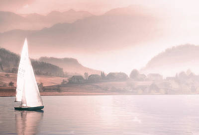 Surrealism Royalty Free Images - Sailing Boat - Surreal Art by Ahmet Asar Royalty-Free Image by Celestial Images