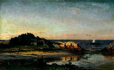 New Years - Sailing off the Seashore Cohasset Massachusetts by Winckworth Allan Gay 1821 1910 by Artistic Rifki