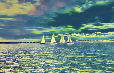 Surrealism Royalty-Free and Rights-Managed Images - Sailing on the Bay in Ocean City, NJ by Surreal Jersey Shore