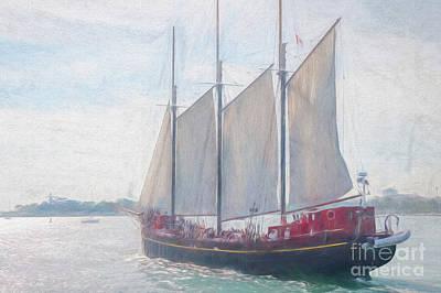Sara Habecker Folk Print - Schooner Sailing On Lake Ontario by Helen Filatova