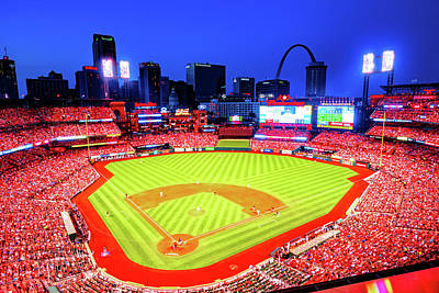 Royalty-Free and Rights-Managed Images - Saint Louis Busch Stadium And Skyline by Gregory Ballos