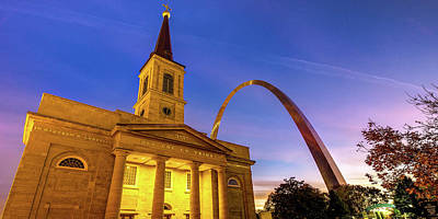 Royalty-Free and Rights-Managed Images - Saint Louis Gateway Arch and Old Cathedral Panorama by Gregory Ballos